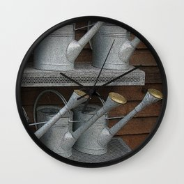 Galvanized Watering Cans Wall Clock