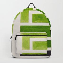 Olive Green Inca Braid Minimalist Geometric Pattern Mid Century Modern Watercolor Painting Backpack