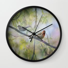 Finches In Springtime Wall Clock