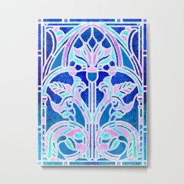 Art Nouveau Blue and Pink Batik Texture Metal Print