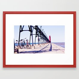 Bicycles on the pier Framed Art Print
