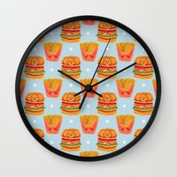 french fries Wall Clocks featuring Hamburger and French Fries Pattern by haidishabrina