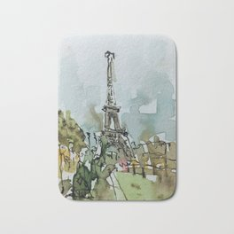 Paris Eiffel Tower Watercolor and Ink Bath Mat