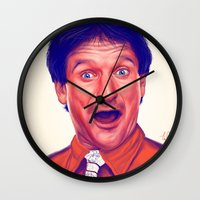 robin williams Wall Clocks featuring Young Robin Williams  by Thubakabra