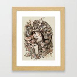 Peacock Samurai Framed Art Print