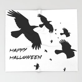 Happy Halloween Murder of Crows  Throw Blanket