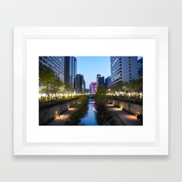Stream at night Framed Art Print