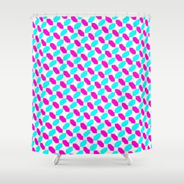Inverted Pink & Light Blue Diamonds Shower Curtain