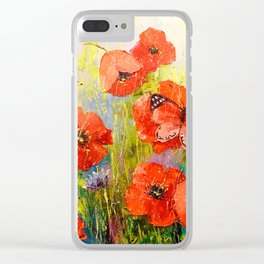 Poppies and butterflies Clear iPhone Case