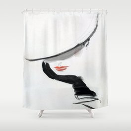 Retro Fashion Model with Black Glove Shower Curtain