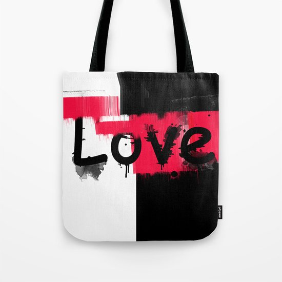 Black and red white pattern Love . Tote Bag