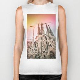 Rainbow Sky Vintage Sagrada Familia in Barcelona Spain Biker Tank