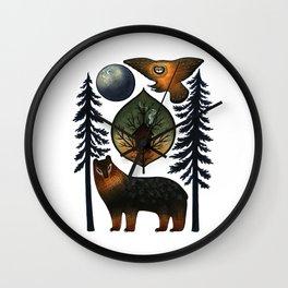 The Bear and the Barn Owl Wall Clock