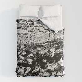 Abstract Acrylic Pour Art - Monotone Comforters