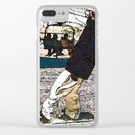Sliding In - Snowboarder Fool Clear iPhone Case
