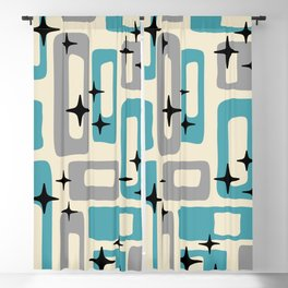 Retro Mid Century Modern Abstract Pattern 223 Blue and Gray Blackout Curtain