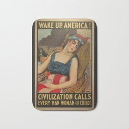 Old Propaganda Poster from 1917 modified to resonate with today's modern political climate. Bath Mat