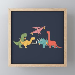 Dino Pizza Framed Mini Art Print