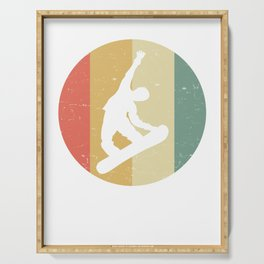 Retro graphic Snowboarding Snowboarder Slopestyle Serving Tray