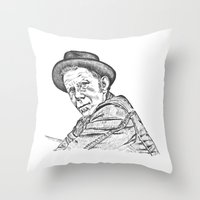 tom waits Throw Pillows featuring Tom Waits Sketch in Black by JennFolds5 * Jennifer Delamar-Goss