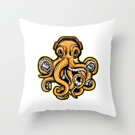 Looking For A Unique Octopus Computer T-shirt ? An Octopus T-shirt With Ctrl Control Alat Heaphones Throw Pillow