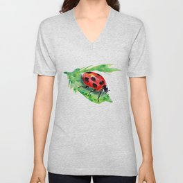 Lady Bug on a Green Leaf Unisex V-Neck