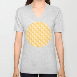 3D Optical Illusion: Yellow Octahedron Pattern Unisex V-Neck