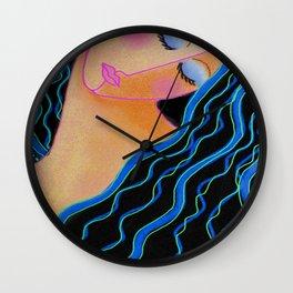 Shiny Black Hair Abstract Digital Painting Wall Clock