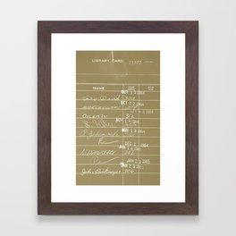 Library Card 23322 Negative Brown Framed Art Print