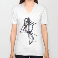 cello V-neck T-shirts featuring Cello by Myles Hunt