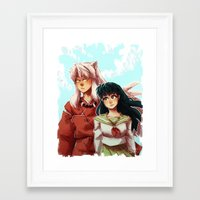 inuyasha Framed Art Prints featuring Kagome + Inuyasha  by Smiling Owl Productions