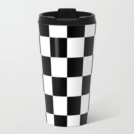 Checker Cross Squares Black & White Travel Mug