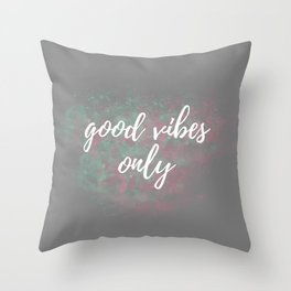 Good Vibes Only Mint Pink Throw Pillow