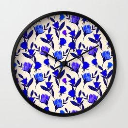 Rosebud Print - Cobalt Blue Wall Clock