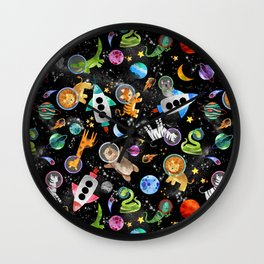 Zoo Animal Astronauts In Space Watercolor Wall Clock