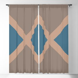 Brown Blue Minimal Diagonal Line Pattern 2021 Color of the Year Canyon Dusk & Accent Shades Blackout Curtain