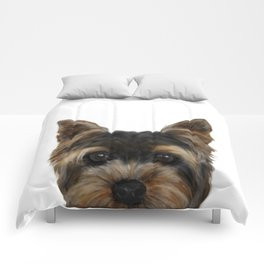 Yorkshire Terrier Mix colorDog illustration original painting print Comforters