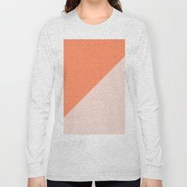 Bright Orange & Nude pink - oblique Long Sleeve T-shirt