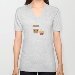 coffee in Paper thermo cup with brown cap and cup holder, chocolate cupcake. Kawaii Unisex V-Neck