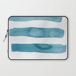 Aqua Stripes Abstract Modern Art Laptop Sleeve