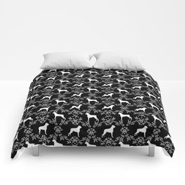 Boxer florals silhouette black and white floral pattern dog portrait dog breeds boxers Comforters