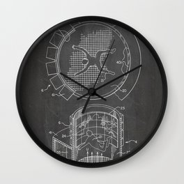 Skydiving Wind Tunnel Patent - Sky Diving Art - Black Chalkboard Wall Clock
