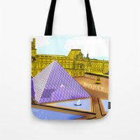 bonjour Tote Bags featuring Bonjour by Hola Vicky