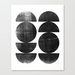 Black and White Mid Century Modern Circles Abstract Canvas Print