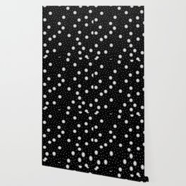 Dark night and winter snowflakes kawaii illustration print Wallpaper