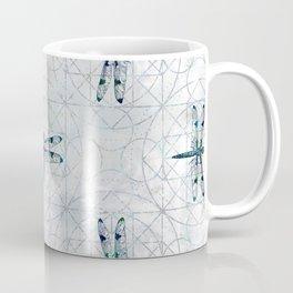 Gemstone Dragonfly on sacred geometry pattern Coffee Mug