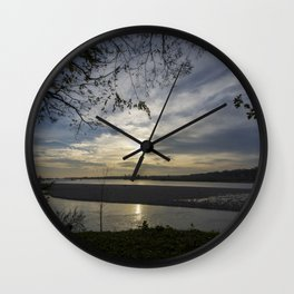Sunset on a river Wall Clock