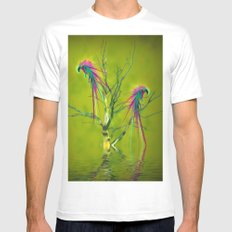 Fantasy Parrots White Mens Fitted Tee MEDIUM