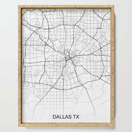Dallas TX Texas Map White Usa Serving Tray