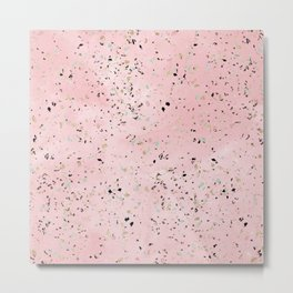 Blush and gold marble terrazzo design Metal Print